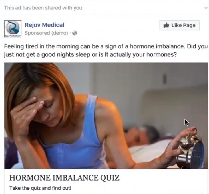 Рекламный пост FB для квиза медицинской клиники